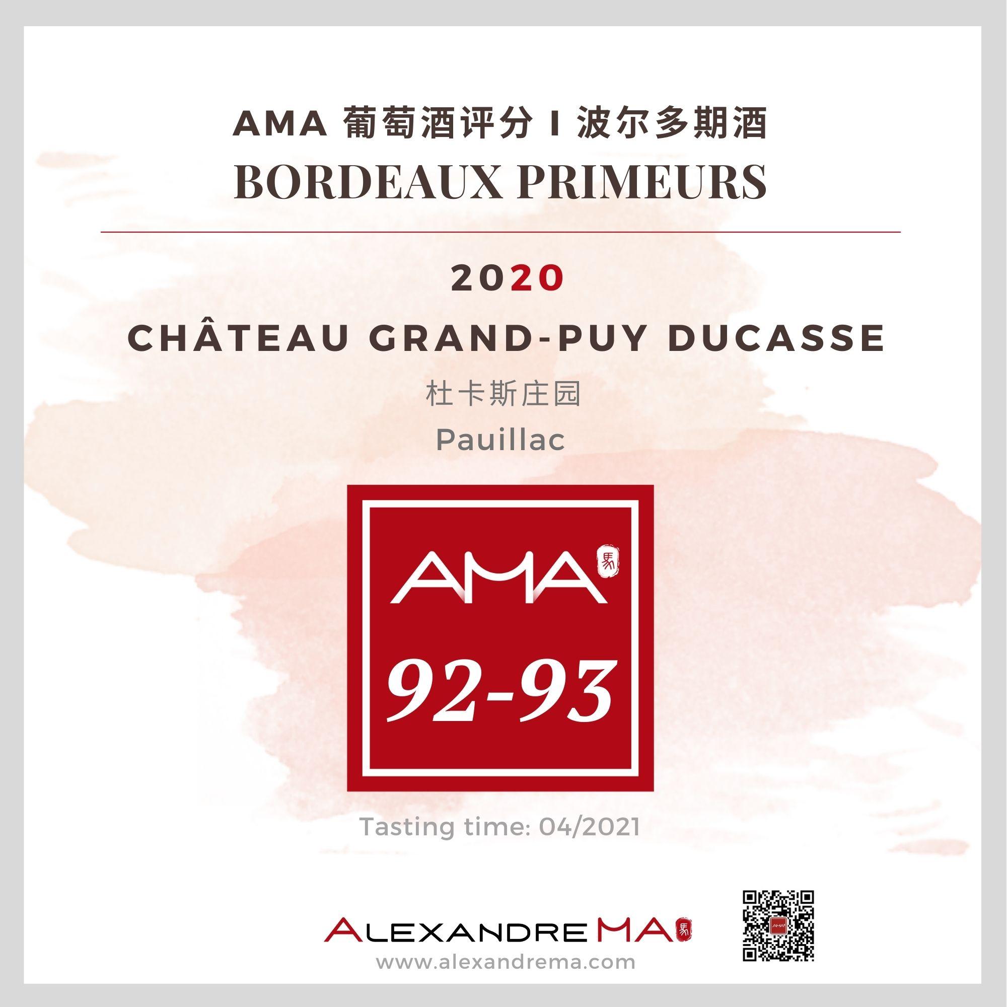 Château Grand-Puy Ducasse 2020 - Alexandre MA