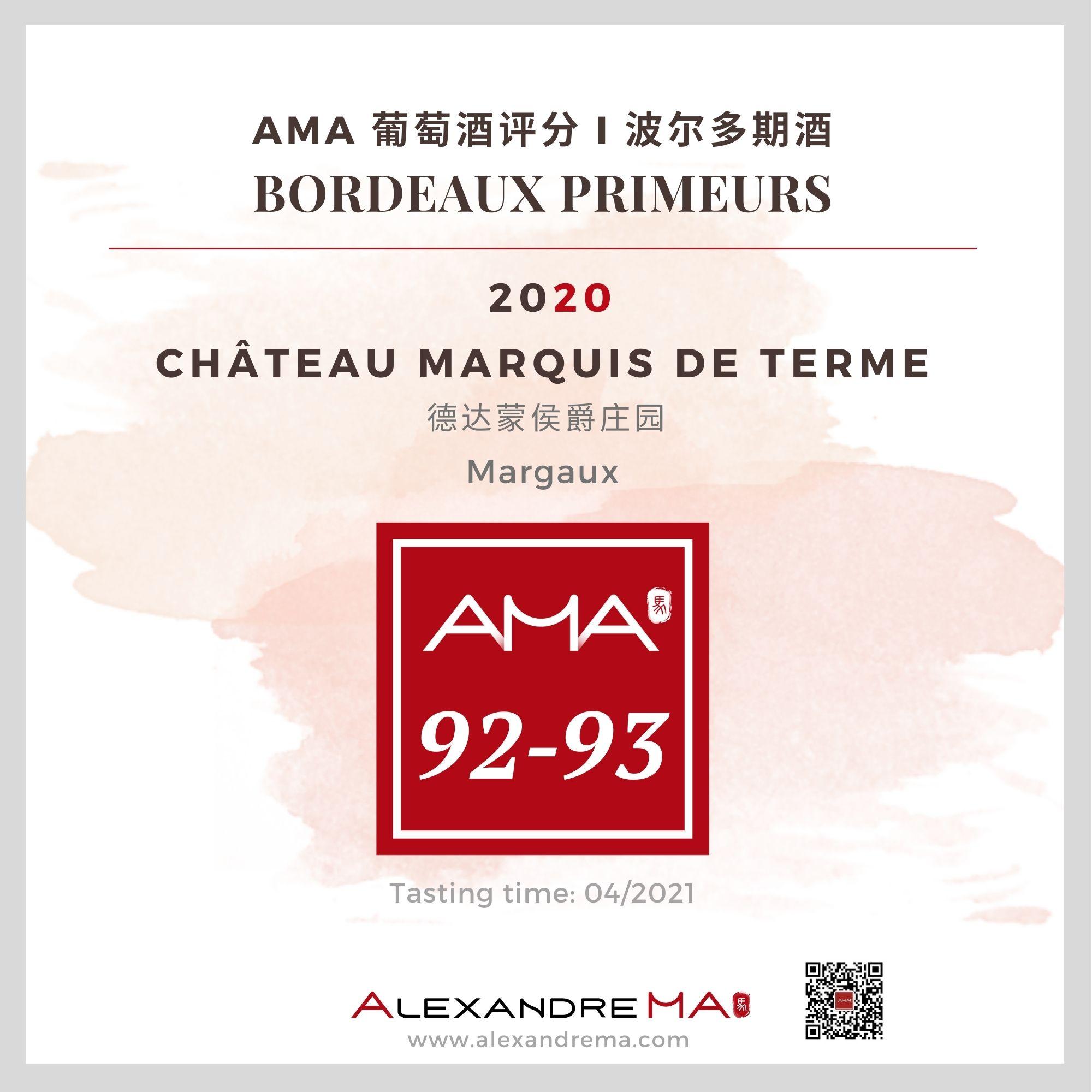 Château Marquis de Terme 2020 - Alexandre MA
