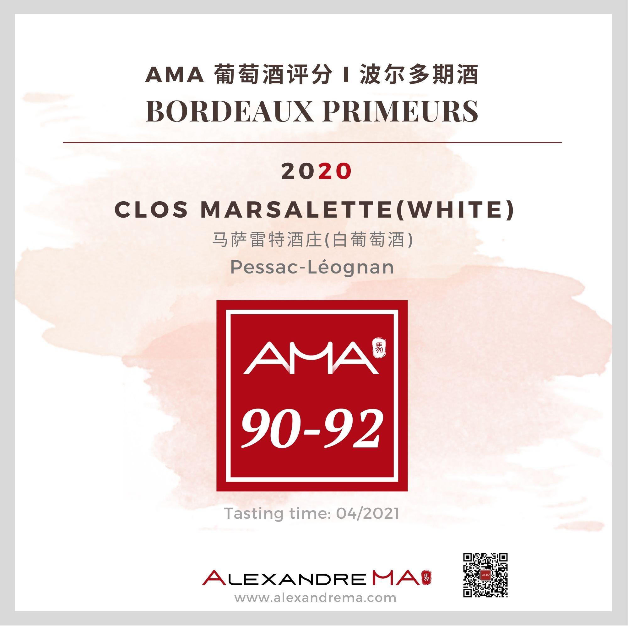 Clos Marsalette – White – 2020 - Alexandre MA