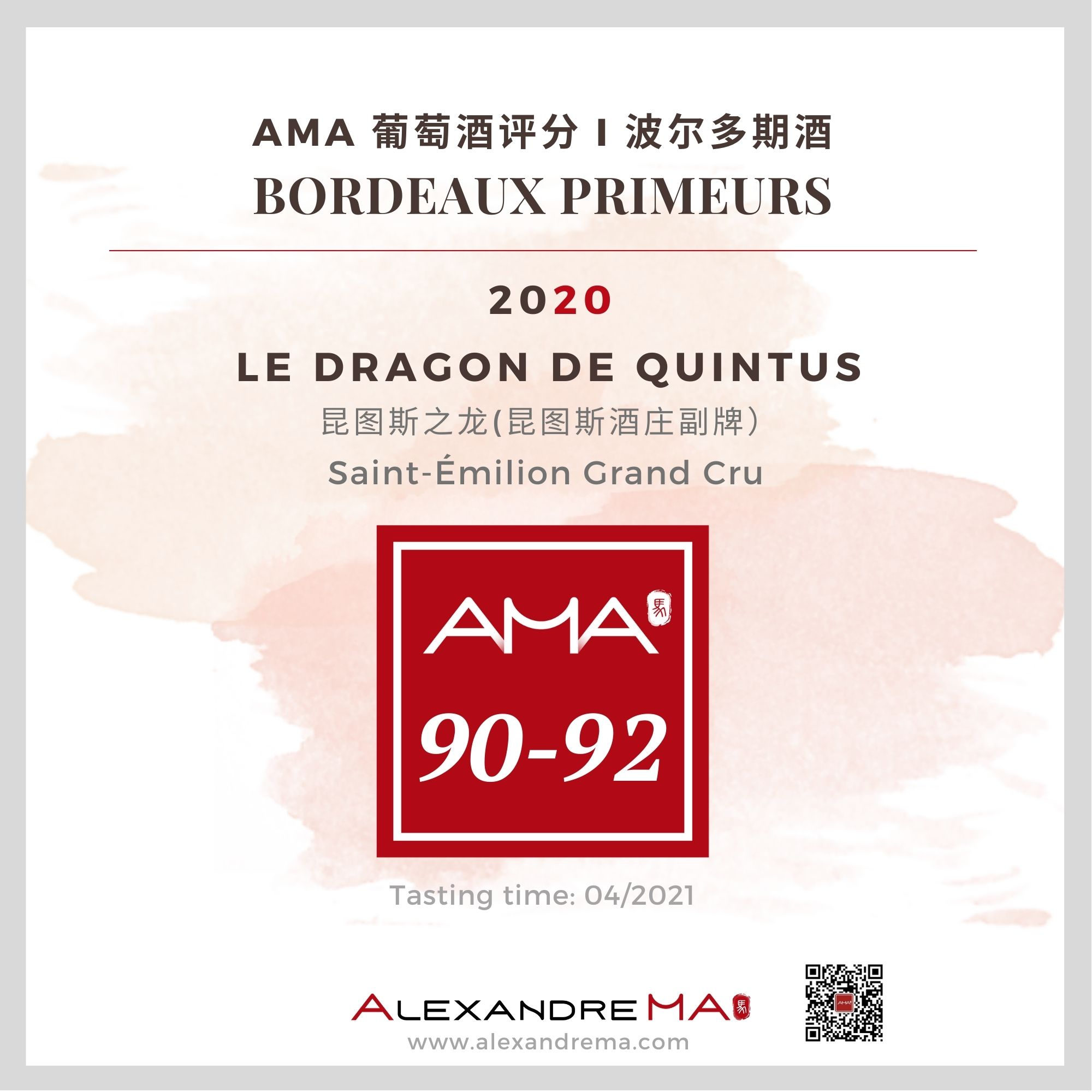 Château Quintus – Le Dragon de Quintus – Red – 2020 – CN - Alexandre Ma